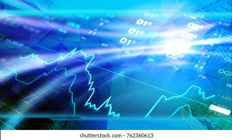 Economy concept image, skyscrapers at background, stock market charts and data. Blue shiny background for global economy, financial, investment themes.