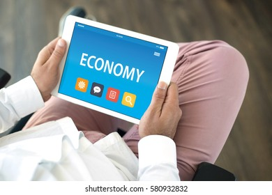 ECONOMY CONCEPT ON TABLET PC SCREEN
