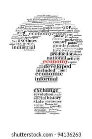 economy crisis question mark -text graphic and arrangement concept