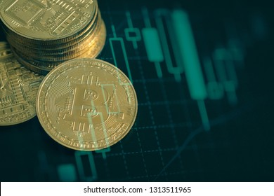 Economy , Double exposure Bitcoin exchange of trading screen on Closeup Bitcoins mockup of various country, cryptocurrency and  investment