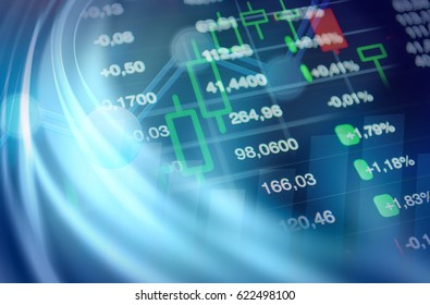 Economy and finance abstract background: stock market chart and data at blue background.