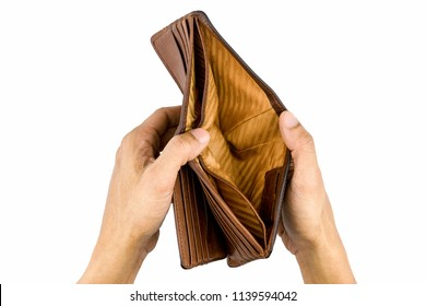 Economy and finance.Closeup hand open old leather brown wallet for find dollar.Isolated on white background.Empty money and corruption concept with Clipping Path.