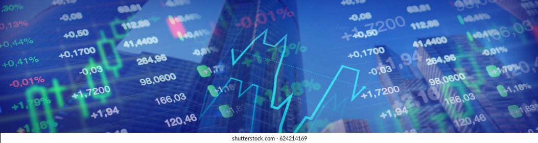 Economy, financial horizontal banner for business, economy, investment, financial themes. Stock market charts and data, skyscrappers in the background.