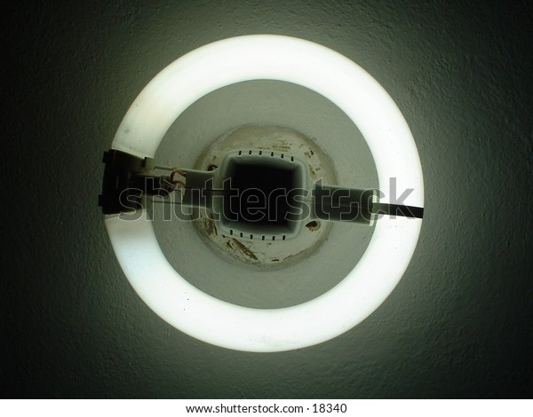 An economy fluorescent light mounted on the ceiling.