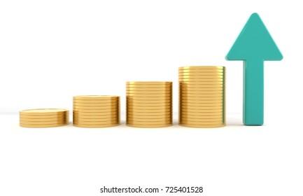 Economy rise concept, 3d render