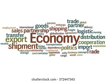 Economy, word cloud concept on white background.
