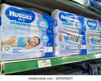 Econsave ,Kuala Lumpur , Malaysia - May 2018 : Packs of Huggies Dry diapers brand on the supermarket shelf .