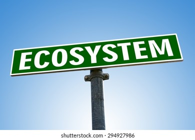 ECOSYSTEM word on green road sign