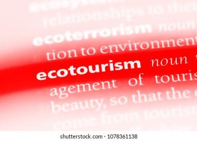 ecotourism word in a dictionary. ecotourism concept