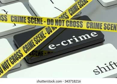 e-crime concept, on the computer keyboard