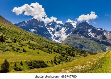 Ecrins National Parc mountain peaks and glaciers in summer. Glacier du Lautaret and Glacier de l'Homme. La Meije, Southern French Alps, Hautes-Alpes. France