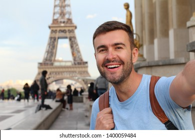 Ecstatic tourist in the Eiffel tower