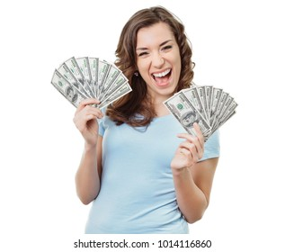 Ecstatic woman holding a lot of money