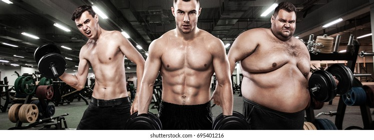 Ectomorph, mesomorph and endomorph . Before and after result. Group of three young sports men - fitness models holds the dumbbell in gym. Fat, fit and athletic men.