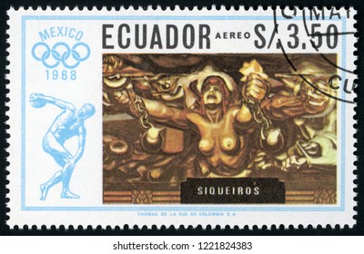 ECUADOR - CIRCA 1967: post stamp printed in Ecuador shows new democracy by Siqueiros; paintings by Mexican artists; 1968 summer Olympics Mexico city; discobolus, Scott 759E A249g 3.50s, circa 1967