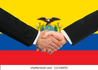 The Ecuador flag and business handshake