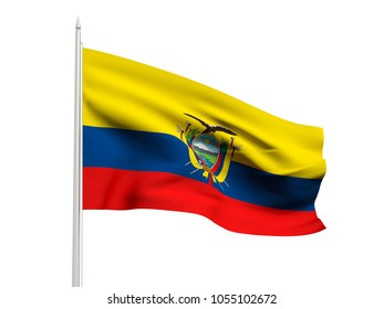 Ecuador flag floating in the wind with a White sky background. 3D illustration.