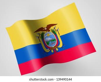 Ecuador flag  on wavy plastic flag