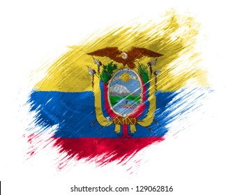 Ecuador flag  painted with brush on white background