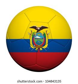 Ecuador Flag Pattern 3d rendering of a soccer ball