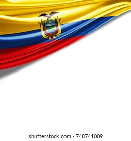 Ecuador  flag of silk with copyspace for your text or images and white background-3D illustration
