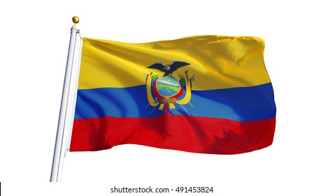 Ecuador flag waving on white background, close up, isolated with clipping path mask alpha channel transparency