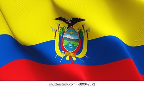 Ecuador flag waving on wind.
