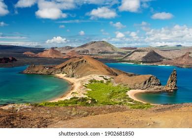 Ecuador. Galapagos Islands. View of two beaches of Bartolome Island in Galapagos Islands National park. Pinnacle Rock. Famous travel destination of Galapagos Islands.