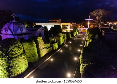 Tulcán, Ecuador, June 2018: Green sculptures, carved in cypress bushes, adorn the corridors of the Tulcán Cemetery, which is visited by tourists throughout the year for their living art.