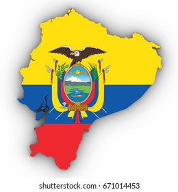 Ecuador Map Outline with Ecuadorian Flag on White with Shadows 3D Illustration