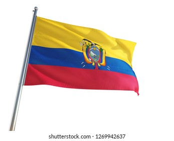 Ecuador National Flag waving in the wind, isolated white background. High Definition
