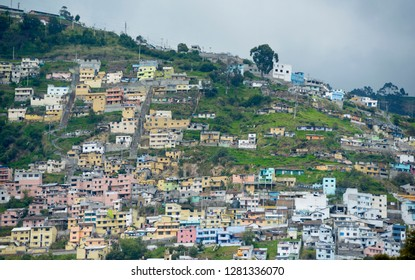 Ecuador, Pichincha, Quito. Colorful Quito suburbs on the hills above the Old Town