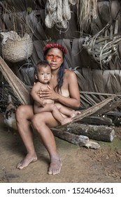Ecuador, Yasuni national park - February 6, 2017: in the deep of amazonian jungle live Huaorani indians. They are still living by the old traditions and habits.