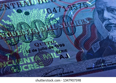 Ecuadoran money in UV rays