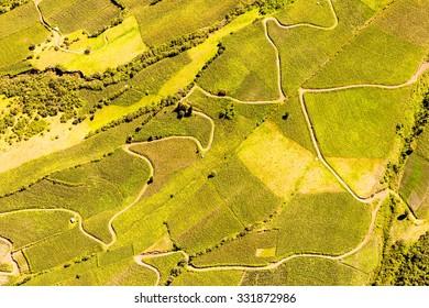 Ecuadorian Farmland Aerial Shot Tungurahua Province High Altitude Full Size Helicopter