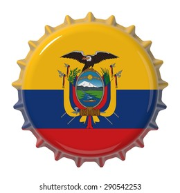 Ecuadorian flag on bottle cap. 3D rendering
