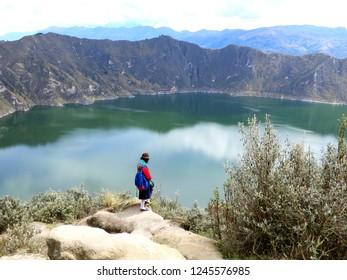 Ecuadorian woman at the Quilotoa volcano in Ecuador