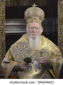 Ecumanical Patriarch of the Greek Orthodox Church, Bartholomeos I leads the Orthodox Easter ceremony in St George Church in Istanbul, Turkey, 5 March 2015