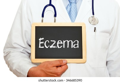 Eczema - Doctor with chalkboard on white background
