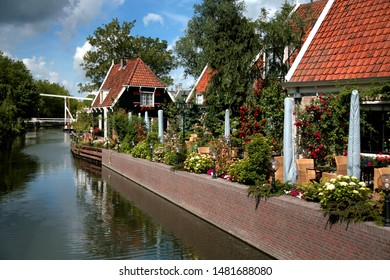 Edam canal with houses Holland