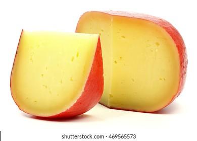 Edam cheese wheel isolated on white background