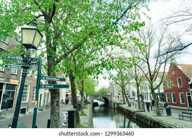 Edam, Holand - 26/04/2018: Edam village. An authentic Dutch village on the IJssel Lake.