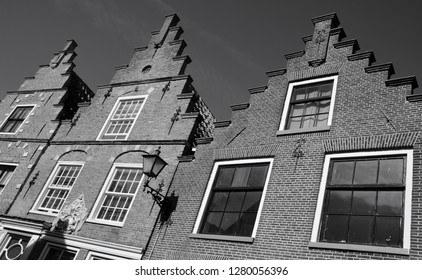 EDAM NETHERLAND OCTOBER 01 2015: Dutch houses in Edam is a city in the northwest Netherlands, in the province of North Holland. Combined with Volendam, Edam forms the municipality of Edam Volendam.