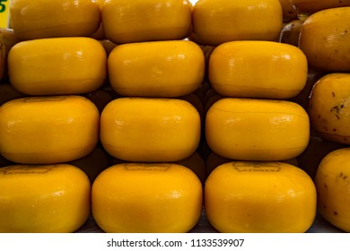 Edam, Netherlands, August 2017: Edam cheeses for sale in the village of Edam, Netherlands