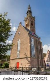 EDAM, NETHERLANDS - AUGUST 25, 2017: Little church and bell tower in Edam, Holland
