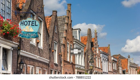 EDAM, NETHERLANDS - AUGUST 25, 2017: Panorama of historic gables in Edam, The Netherlands