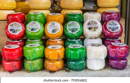 EDAM, NETHERLANDS - AUGUST 25, 2017: Colorful selection of dutch cheeses at a shop in Edam, Holland