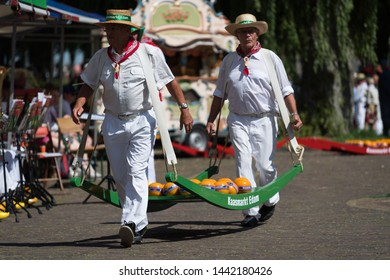 Edam, Netherlands - July 2019: Cheese porters at the first cheese market of the season