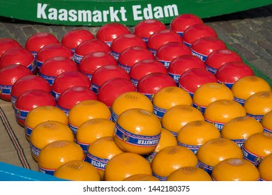 Edam, Netherlands - July 2019: Edam cheeses at the first cheese market of the season