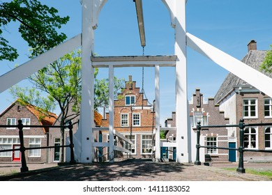 Edam, Netherlands - May 14, 2019: Drawbridge in the city of Edam
